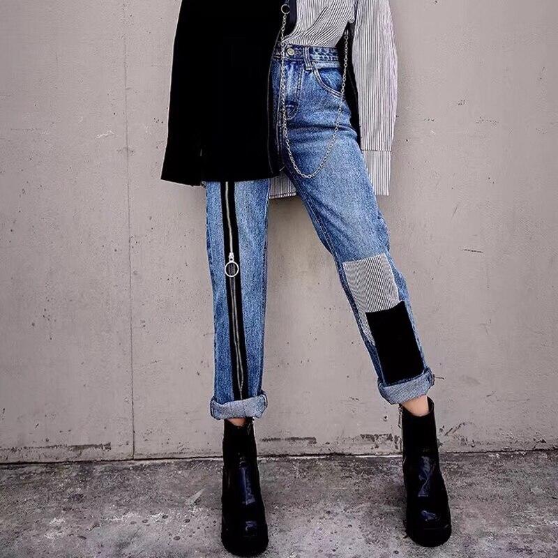2019new Spring Street Hip-hop Women Zipper Color Paste Patch Denim Trousers Fringed Trousers Straight Leg