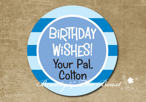 personalized kid gift sticker happy birthday stickers label party