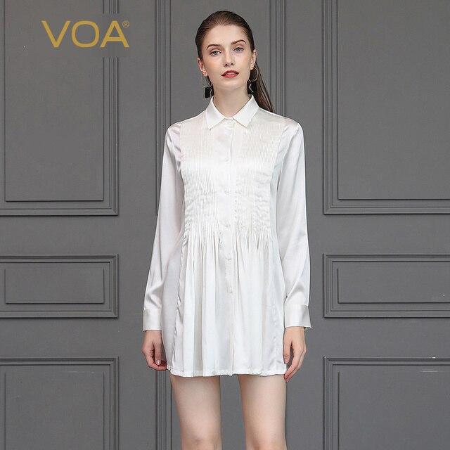VOA White Stain Silk Blouse Women Smooth Soft Office Work Ladies Tops Basic Shirt Autumn Long Sleeve Elegant Large Size B2100
