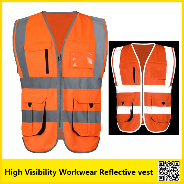 SFvest Reflective safety vest  work unifroms workwear hi vis orange vest with company logo printing free shipping