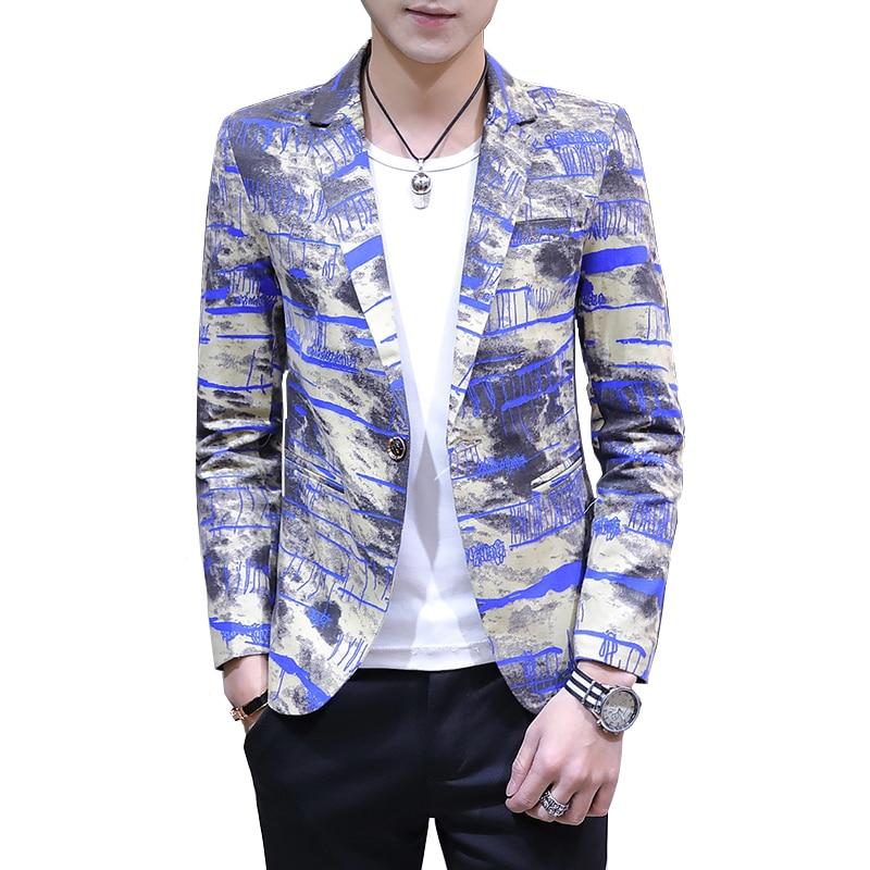 Подростков мужские спортивные пиджаки 2019 тонкий дизайн Для мужчин пиджак Азии размеры s M L XL XXL Для мужчин s пальто с цветочным принтом