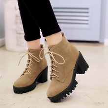купить SM Big Size 34-43 Fashion Lace Up Nubuck Ankle Boots Thick High Heels Platform Shoes Woman Add Fur Skid Proof Winter Boots дешево