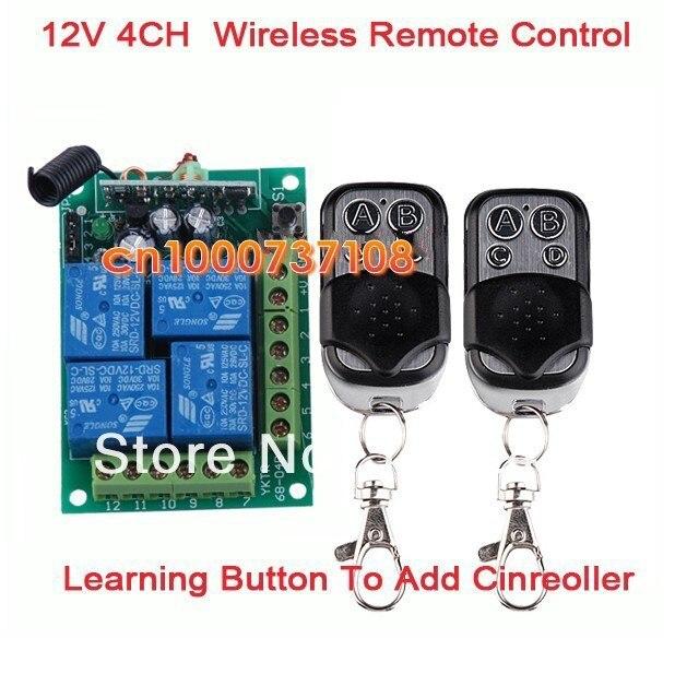 DC12V 10A 4 ch rf wireless lámpara led de control 433.93 mhz radio receptores pa