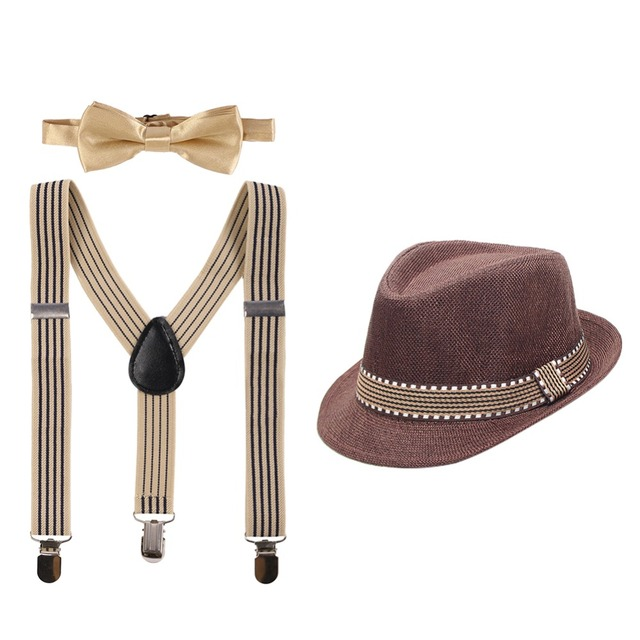 3pcs Set Baby Kid Girl Boy Cake Smash Outfit Formal Fedora Bow Tie & Suspenders Bundle Hat Clothes Birthday Photo Props Outfits