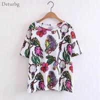 Womens New Bird Flower Print T Shirt Ladies Casual Short Sleeve O Neck Cotton Blends White