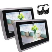 Headrest LCD Car Pillow Monitors DVD Player Dual HD Screen Rear Seat Entertainment 2x Headphones 1080P IR/FM Transmitter USB/SD