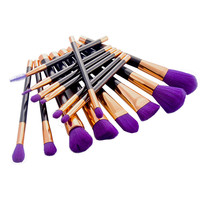 15PCS Cosmetic Makeup Brush Makeup Brush Eyeshadow Blaco Plastic Handle Brush Soft Beauty Purple Nylon Wool
