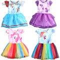 2016 Novo vestido de verão meninas Vestido do meu Pônei Primavera menina Vestidos de manga Curta as Minhas meninas princesa Para Little Pony traje