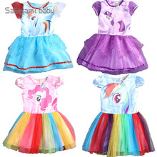 SAMGAMI BABY New Summer Cute Dress Little Girls Dress my Pony Spring Girl Short Sleeve Dresses My girls Princess For Little Pony