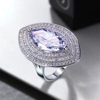 2016 Women Horse Eye Finger Rings Clear White Cubic Zirconia Pave Setting Bridal Ladies Fashion Ring