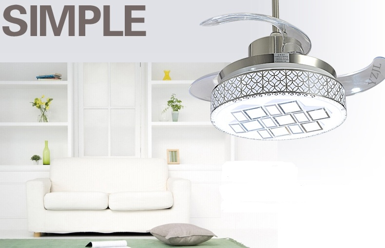 Led ceiling fan light remote control stealth retractable fan lights modern minimalist living for Bedroom ceiling fans with lights and remote