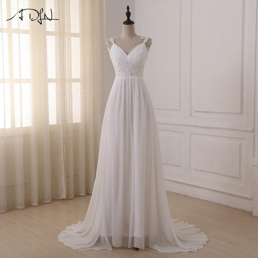 ADLN Beach Wedding Dress vestido de noiva In Stock Plus Size Spaghetti Straps Chiffon Wedding Gowns