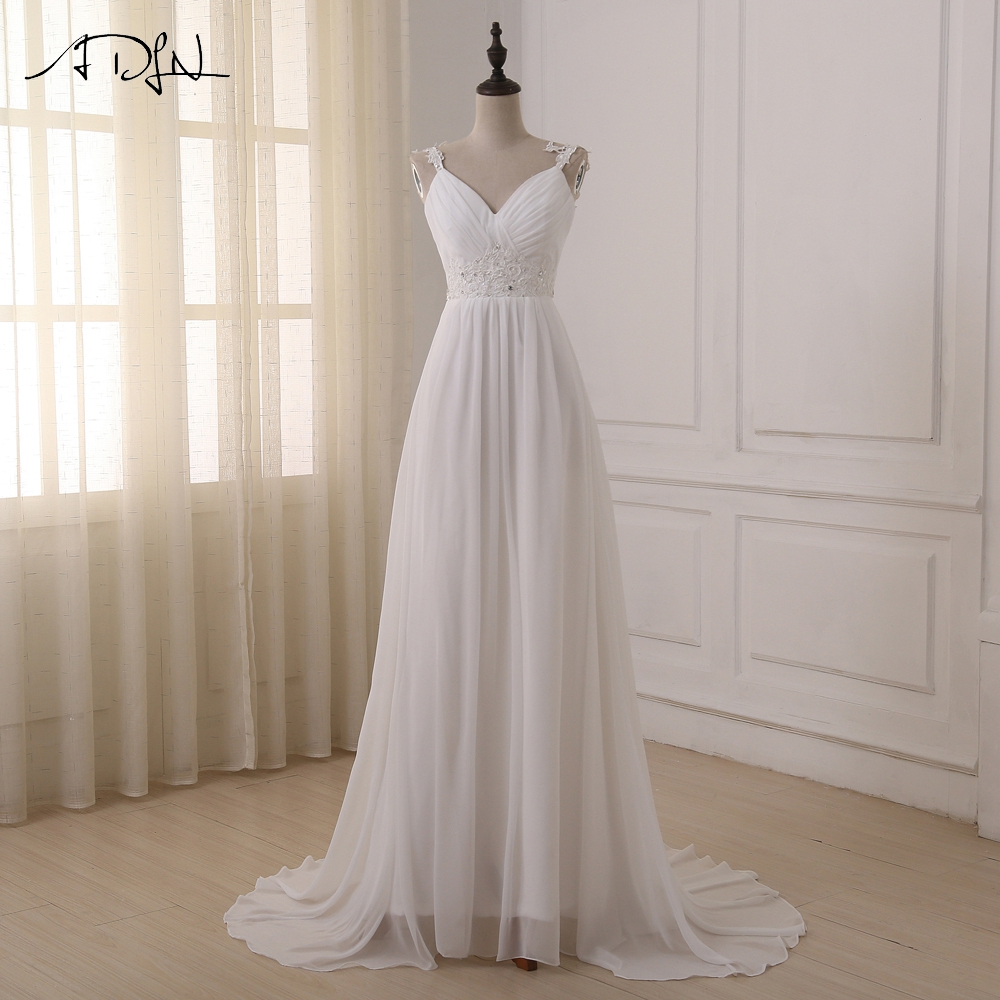 ADLN Beach Wedding Dress Vestido De Noiva In Stock Plus Size Spaghetti Straps Beading Chiffon Wedding Gowns Bridal Dresses