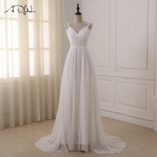 ADLN Beach Wedding Dress vestido de noiva In Stock Plus Size Spaghetti