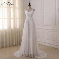 ADLN Beach Wedding Dress 2017 In Stock Plus Size Spaghetti Straps Chiffon Wedding Gowns Brida Gown