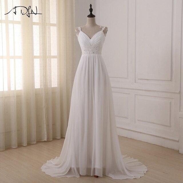 ADLN Praia Vestido de Noiva vestido de noiva Em Estoque Plus Size Spaghetti Chiffon Vestidos de Casamento Vestidos de Noiva