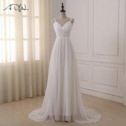 Adln praia vestido de casamento vestido de noiva em estoque mais tamanho alças de espaguete chiffon vestidos de casamento vestidos de noiva
