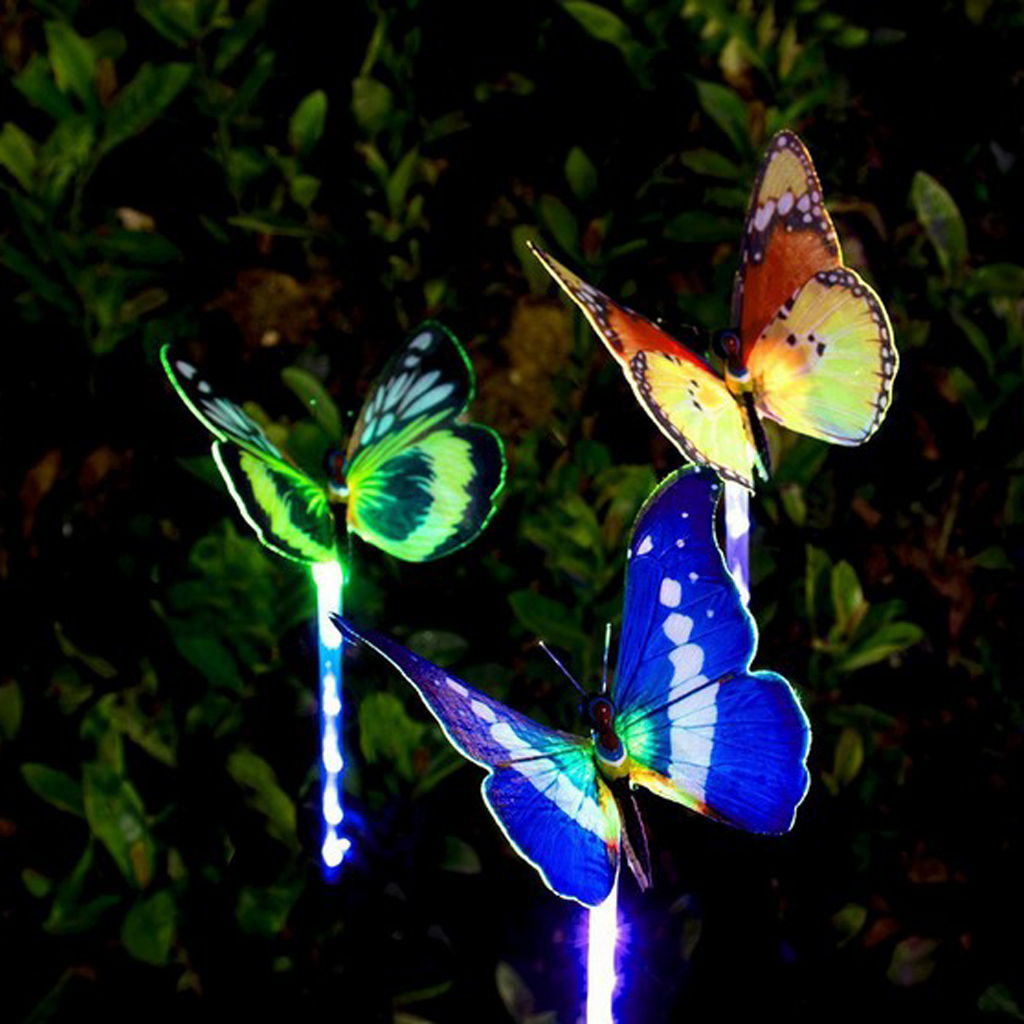 Solar Powered Butterfly LED Light Color Changing Lights Outdoor Garden Stakes Flower Bed  Flowerpot Planter Decoration