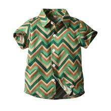 Summer Boys Shirts Stripe Blouse Beach Short Sleeve Baby Boy Shirt Casual Boys Shirt With Half Collar For Children Top стоимость