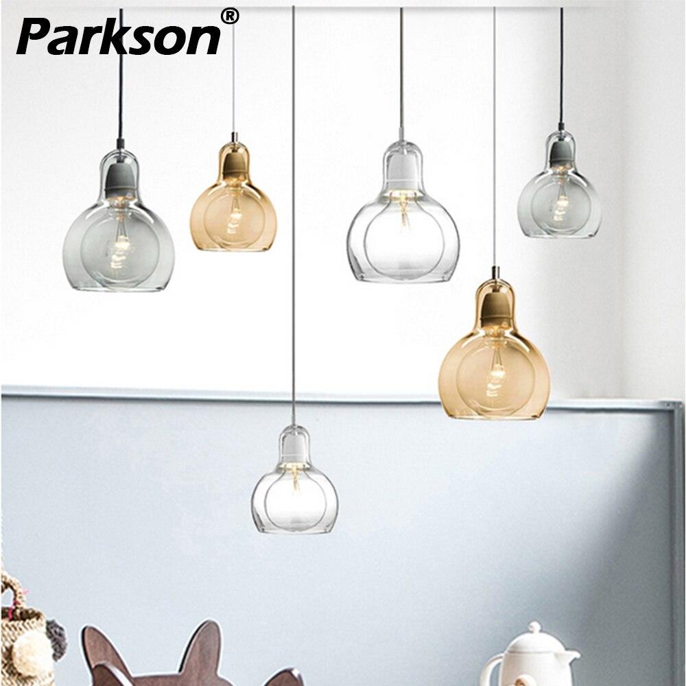 Lamparas de techo colgante touw moderna luminaria lâmpada modernas luzes pingente de Vidro Transparente claro/cinza/âmbar lâmpada pendurada e27