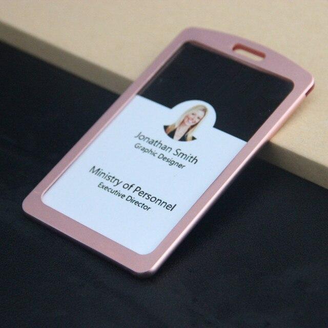 new arrival 1pcs pink color aluminum alloy metal vertical id badge