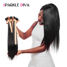 Sparkle Diva Hair Malaysian Straight Hair Weave 10-28Inch Natural Color 100% Human Hair Bundles Remy Hair Extensions Can Be Dyed