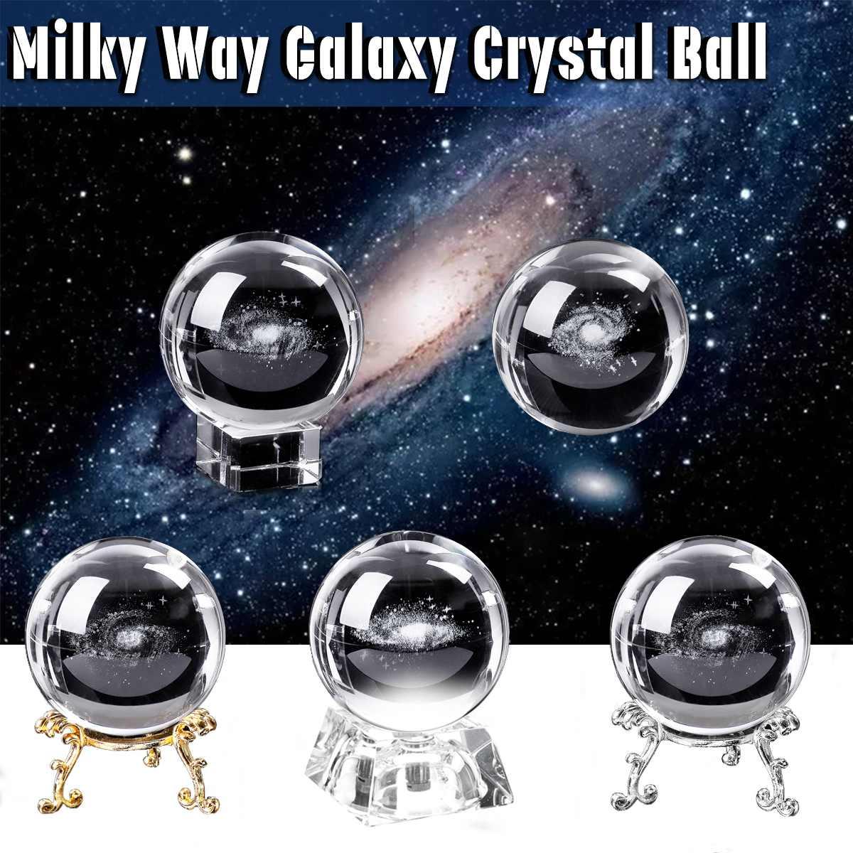 6 cm 3D Laser Gravierte Quarz Glas Ball Durchmesser Globus Für Galaxy Miniaturen Kristall Ball Beleuchtet Basis Hause Dekoration Geschenke