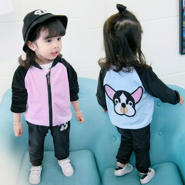 Baby Girls Clothes Cotton Long Sleeve Dog Print Jacket+Solid Pants Girls  Autumn Spring Suit Kid Clothing c5e17a5da