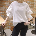 2016 new Korean fashion Lantern sleeve plus size long sleeve blouse white shirt women tops