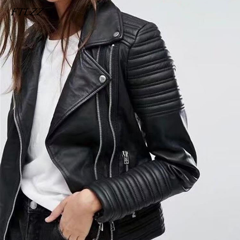 FTLZZ 2019 New Women Smooth Motorcycle Faux   Leather   Jackets Ladies Long Sleeve Autumn Winter Biker Streetwear Black Pink Coat