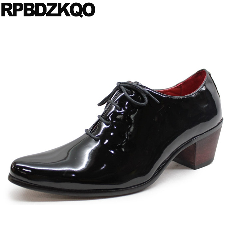European Male 2017 Oxfords Black Business Casual Men Shoes Pointed Toe Patent Leather High Heel Fashion Italy Stylish Hot Sale patent leather men s business pointed toe shoes men oxfords lace up men wedding shoes dress shoe plus size 47 48
