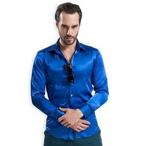 Image 5 - 2020 موضة الساتان اللامع النمط البريطاني فستان قميص الحرير الفاخرة مثل ملابس رجالية بكم طويل قميص غير رسمي أداء الملابس ارتداء الذكور