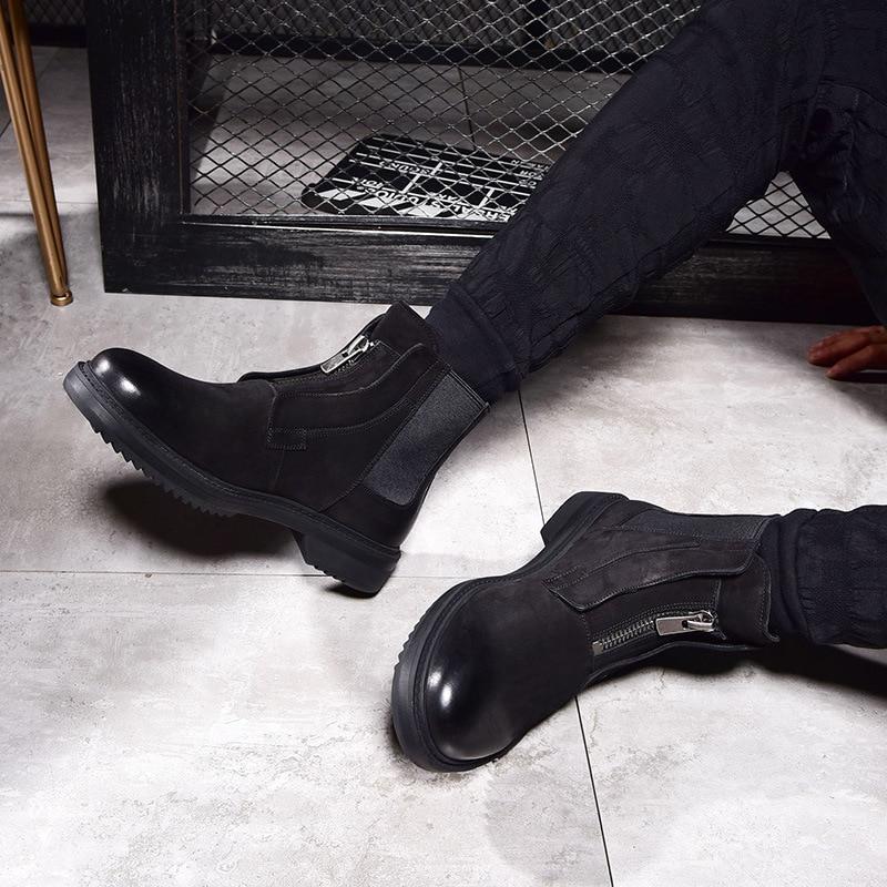 Couro Quente Velvet Do Botas Masculinos Alta black De Cashmere Combate brown Chelsea Genuíno Inverno Top Velvet Homens Sapatos brown Exército Dos Zipper Black gBP0gw