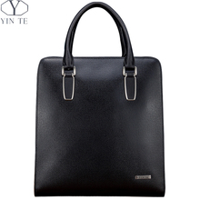 YINTE Men's Black Briefcase Leather Business Shoulder Bag Small Laptop Messenger Office/Business/Meeting/Lawyer Totes T8383-3
