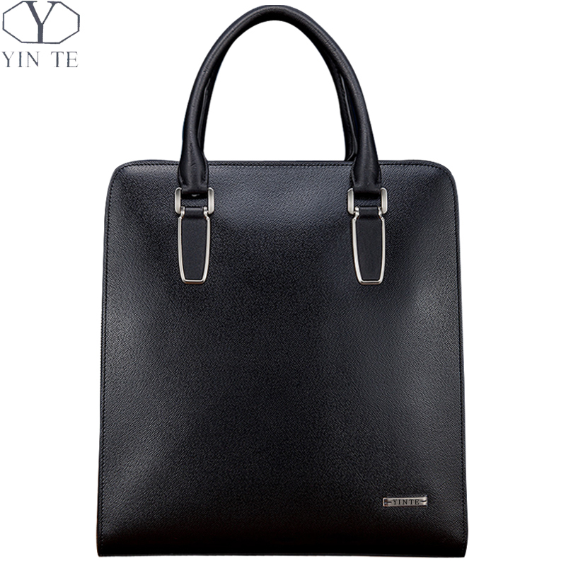 YINTE Mens Black Briefcase Leather Business Shoulder Bag Small Laptop Messenger Office/Business/Meeting/Lawyer Totes T8383-3
