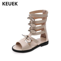 New Summer Children Patent Leather High Top Shoes Girls Sandals Princess Student Bow Gladiator Shoes Kids Baby Party 018