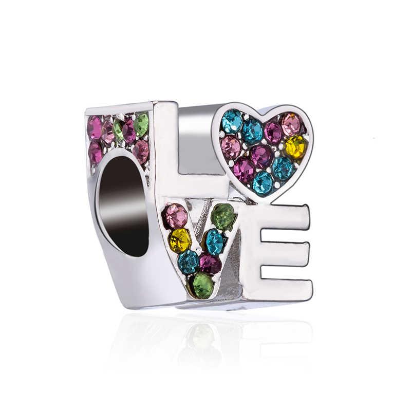 Luxuoso Grande Flores De Cristal Cavalo Saco De Mickey Mouse Encantos Beads Fit Pandora Pulseiras & Pulseiras para Mulheres Amante DIY Perles