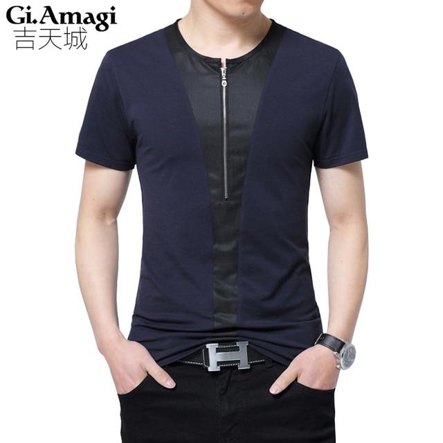 Zip Designs Summer Short-sleeved T-shirt Men s Trend 2017 New Men s Clothing  Plus Size 5xl Youth Clothes T Shirt Men 94716ea8c38cd