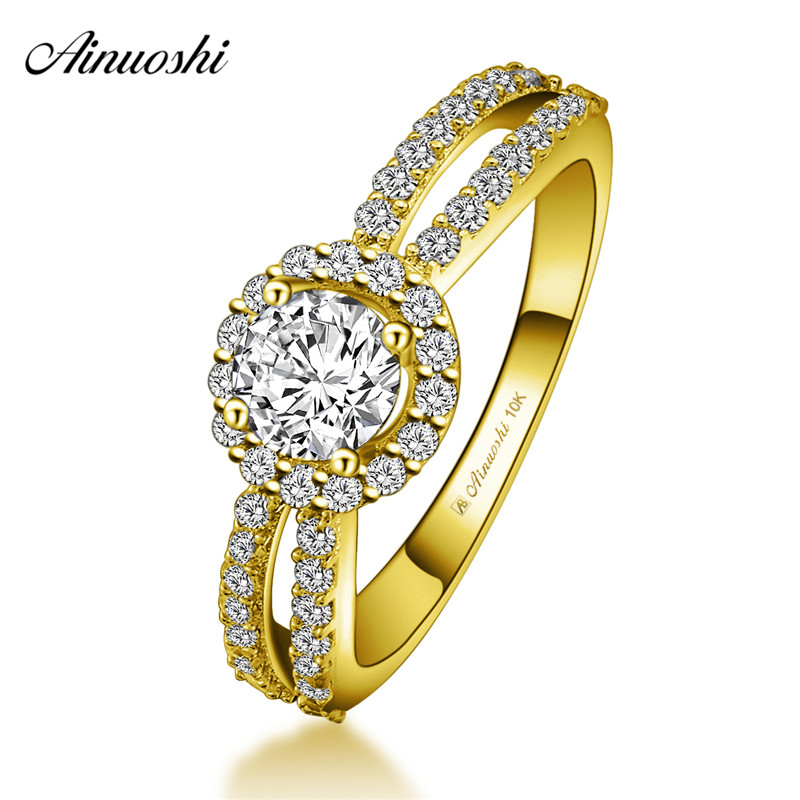 AINUOSHI 10k Solid Yellow Gold Halo Ring 0.5ct Round Cut Double Rows CZ Hollowed Shinning Ring Woman Wedding Engagement JewelryAINUOSHI 10k Solid Yellow Gold Halo Ring 0.5ct Round Cut Double Rows CZ Hollowed Shinning Ring Woman Wedding Engagement Jewelry