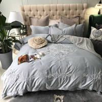 Solid Silver Gray Princess Style Embroidery Bedding Set Queen King Size Egyptian Cotton Duvet Cover Sheet Pillow Cases