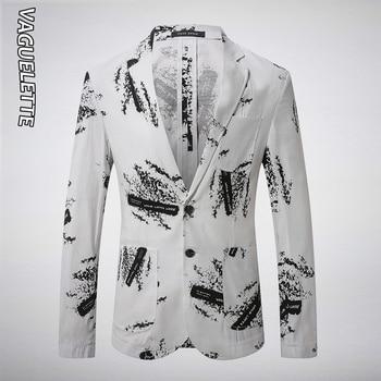 VAGUELETTE Stylish Pattern Blazer Men Fashion Jackets Stage Wear Suit Jacket For Singer Casual Linen Blazer For Men M-3XL