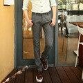 Pantalones de Los Hombres ocasionales de Primavera y Verano Para Hombre de Algodón de Lino Pantalones Midwaist Pantalones Largos de los hombres de Gran Tamaño 40 38 2016 Sólido Ropa pantalones