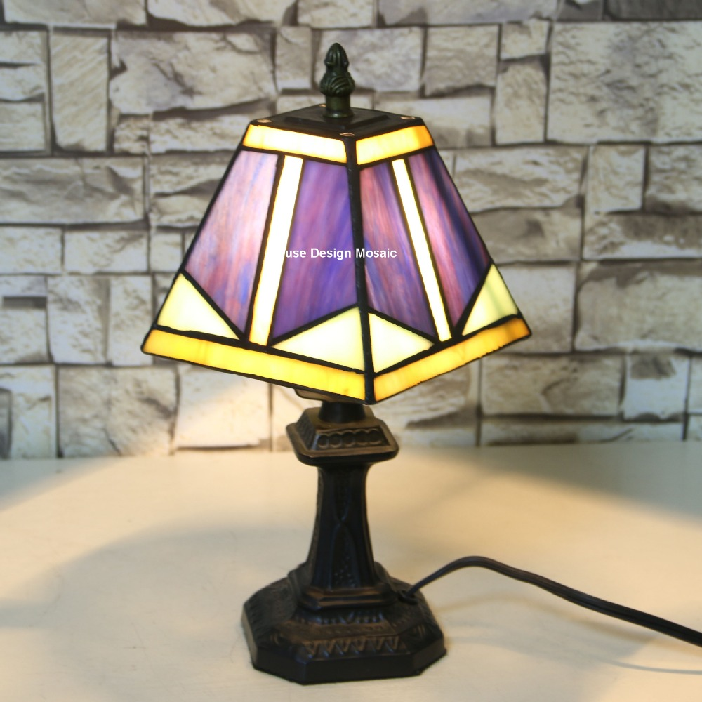 Shipping Free, Purple Art Deco Stained Glass Tiffany Lamps