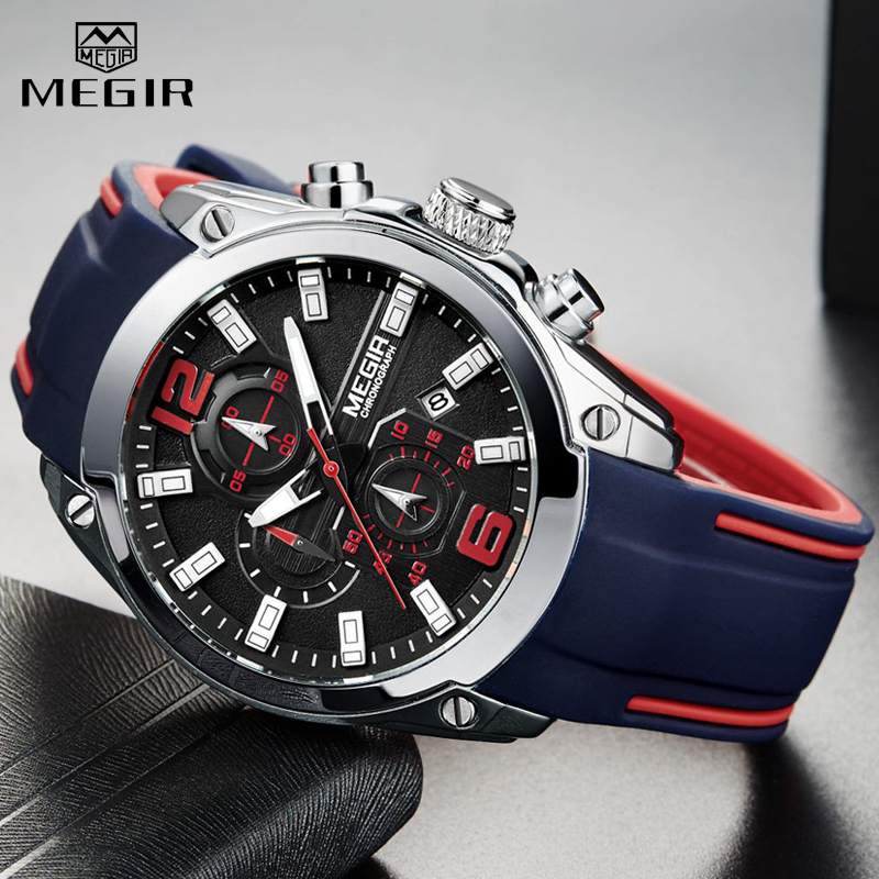 2020 <font><b>MEGIR</b></font> Watch Top Brand Mens Watches with Chronograph Waterproof Silicone Sport Wristwatch Men Watch Analog Quartz Relogio image