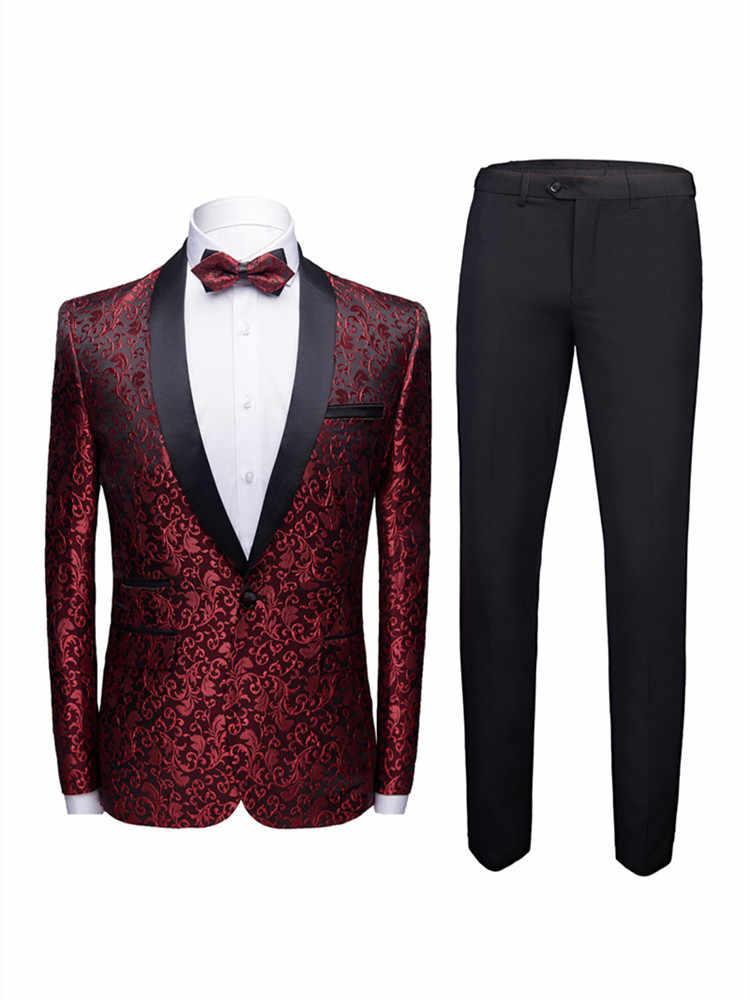 2019 printemps nouveau haute qualité hommes décontracté business costumes hommes broderie classique rouge costumes costume de mariage costume hommes (veste + pantalon)