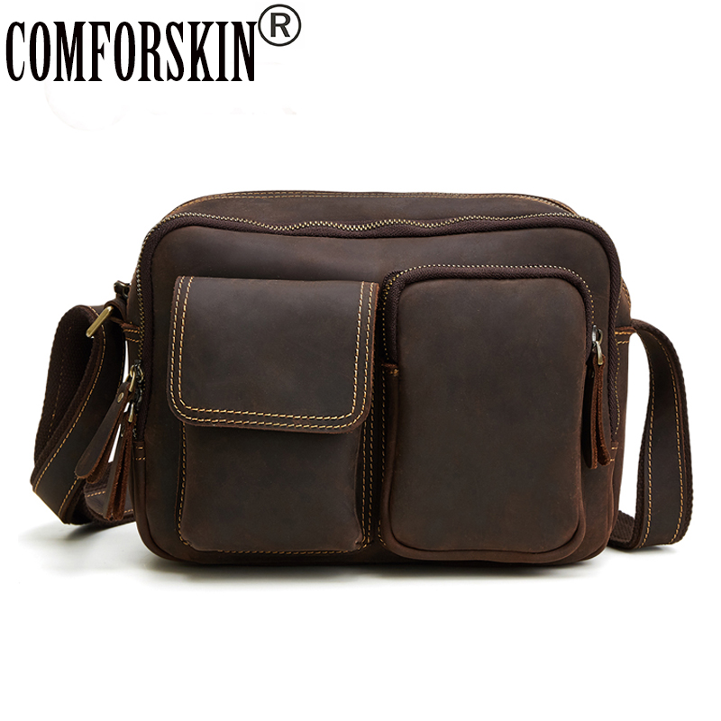 COMFORSKIN Brand Men Leather Bag Large Capacity Vintage Male Messenger Bags 2017 Premium 100% Genuine Leather Men Shoulder Bags brand double zipper genuine leather men wallets with phone bag vintage long clutch male purses large capacity new men s wallets