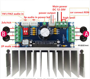 Image 4 - TDA7388 Class AB 2/4 channel 4x41W Stereo Surround Audio Power Amplifier Car Amp