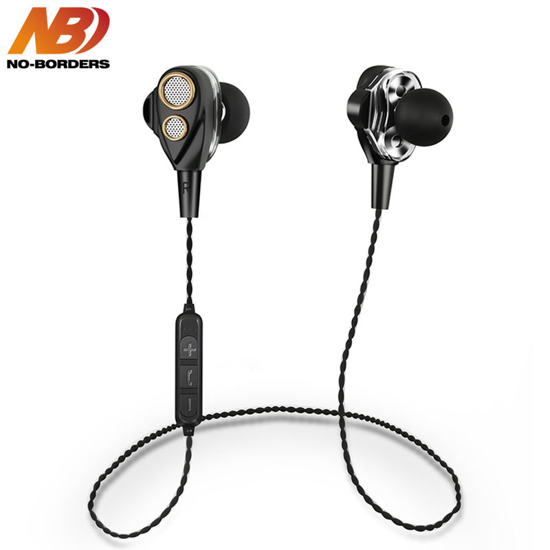 NO-BORDERS Double Dynamic Bluetooth Earphone Dual Stereo Bass Sound Handsfree Wireless Gaming Headset With Mic For Phone TF Card