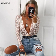 yuqung deep v neck lace bodysuit top Women Skinny 2018 hollow out black jumpsuit