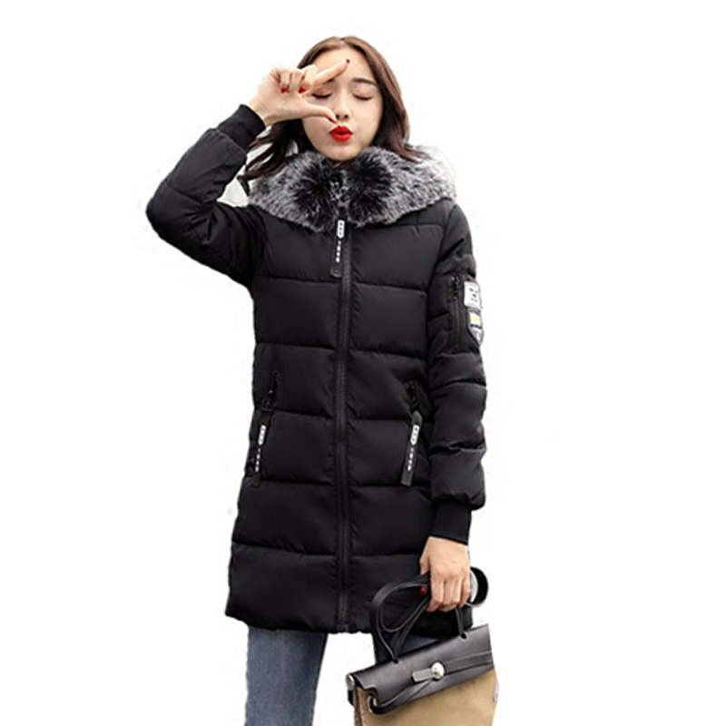 2017 Winter Jacket Women Fur Collar Hooded Coat Parka Warm Padded Slim Women Cotton Jacket Plus Size Casual Outwear 4L38 printer front control panel for hp t610 t1100 q6683 control keyboard board display screen on sale